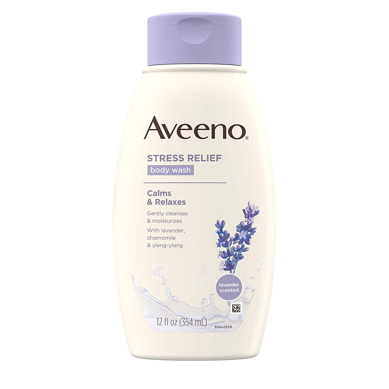 Aveeno Stress Relief Body Wash with Soothing Oat, Lavender, Chamomile & Ylang-Ylang Essential Oils, Hypoallergenic, Dye-Free & Soap-Free Calming Body Wash gentle on Sensitive Skin, 12 fl. oz (5 Pack)