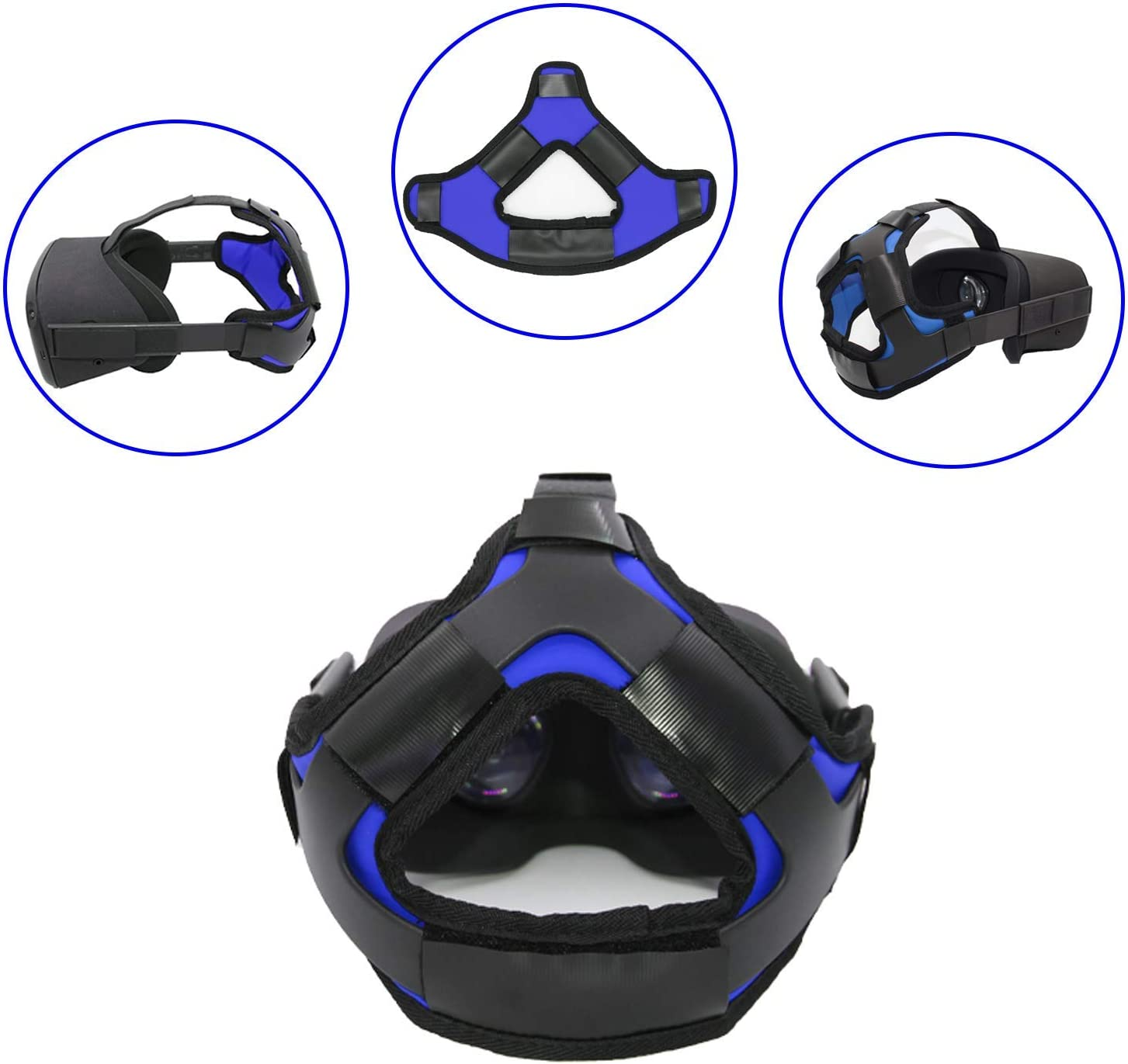 Head Strap Pad & Headband Gravity Pressure Reducing Head Pad Cushion for Oculus Quest & Oculus Go Headset Accessories with Comfortable PU Leather Surface & Soft Foam Pad (Blue, Oculus Quest)