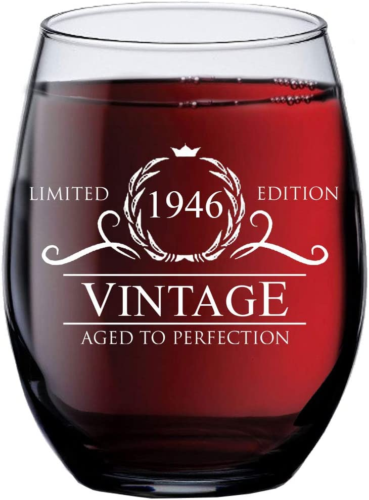 75th Birthday Gifts for Women Men - 1946 Vintage 15 oz Stemless Wine Glass - 75 Year Old Birthday Party Decorations - Seventy-Fifth Anniversary Presents for Parents - Seventy Five Class Reunion Ideas