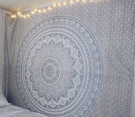 Popular Handicrafts New Launched Kp826 Silver and Gold Ombre Tapestry Mandala Hippie Wall Hanging Bohemian Bedspread with Extra Metallic Shine Extra Large Tapestries ()