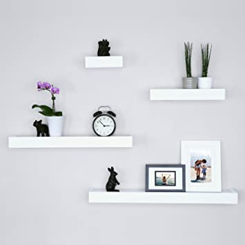 Incredible Ballucci Modern Ledge Wall Shelves Set Of 4 White Home Interior And Landscaping Eliaenasavecom