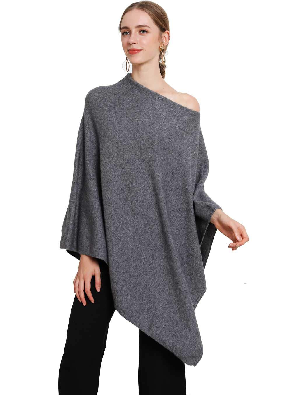 Pashmina Women 2019 New Pure Cashmere Scarf Cover Ups Autumn Winter High-End Luxury Oversized Ponchos Gray (Dark Gray, Free Size) by FINCATI