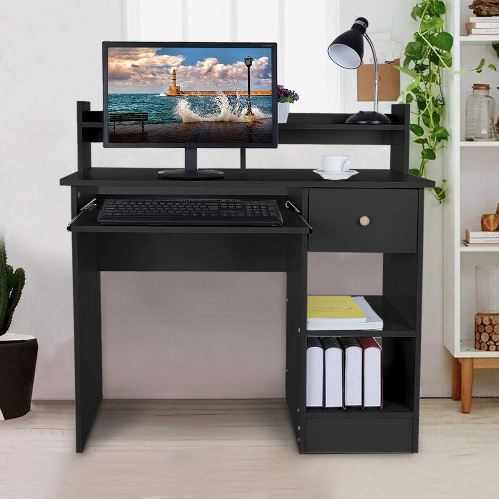 NDGDGA Computer Desk, Modern Laptop Desktop Study Writing Table with Keyboard Tray, Drawer & Shelves for Small Spaces, Home Office PC Laptop Table Wood Workstation (Black, 39.3×17.7×37in.)