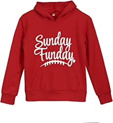 Mother and Daughter Hoodies Christmas Long Sleeve Sunday Funday Print Sweatshirt Pullover Top with Pocket