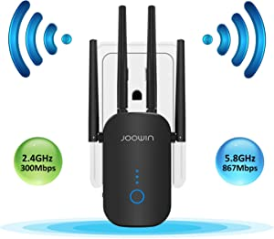 JOOWIN WiFi Range Extender | WiFi Signal Booster | WiFi Repeater | 2.4 & 5.8GHz Dual Band 1200Mbps 802.11ac Tech | WiFi Amplifier with 4×3dBi High Gain Antenna for Home (Only Support Repeater Mode)