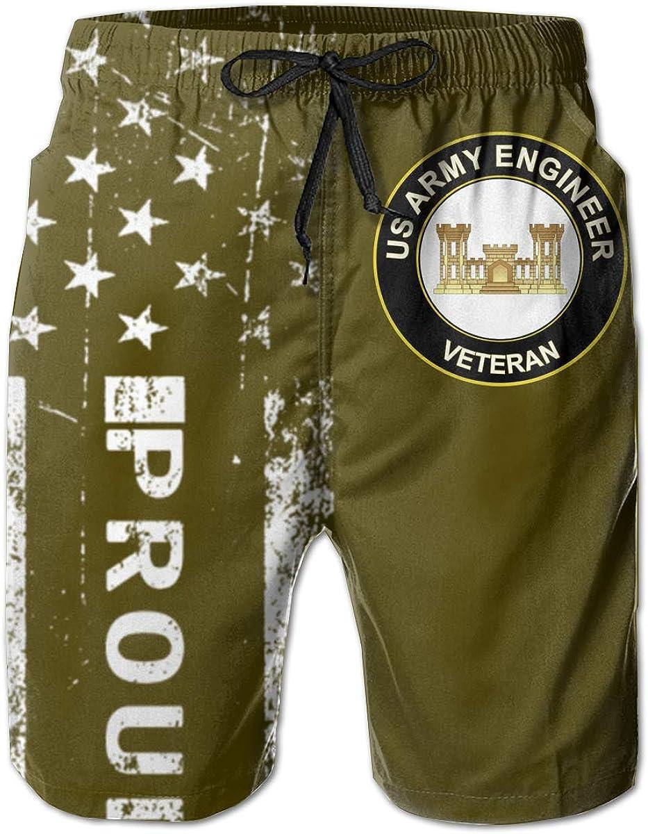SUNSUNNY US Army Veteran Army Engineer Mens Boardshorts Swim Trunks Beach Athletic Shorts
