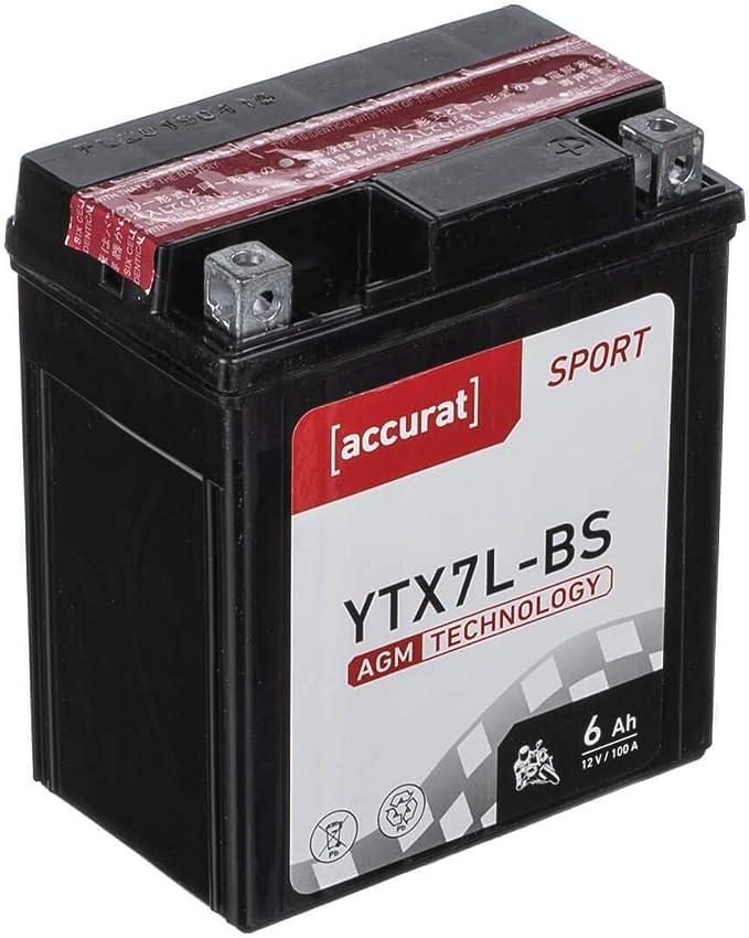 Accurat Motorradbatterie Ytx7l Bs 6ah 100a 12v Starter Batterie Mit Agm Vrla Technologie Rüttelfest Robust Wartungsfrei Auto
