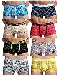 JINSHI Men's Bamboo Underwear Boxer Briefs Short Leg Fashion Graphic