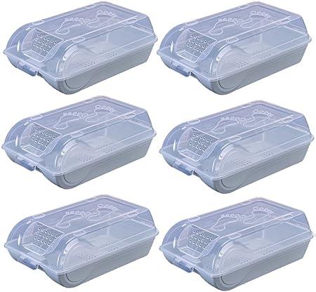 CSQ Caja de almacenamiento de zapatos, tipo cajón Zapatillas de carga transparente transparente Caja de zapato de plástico Caja de almacenamiento Caja de habitación a prueba de polvo Caja y cesta: Amazon.es: