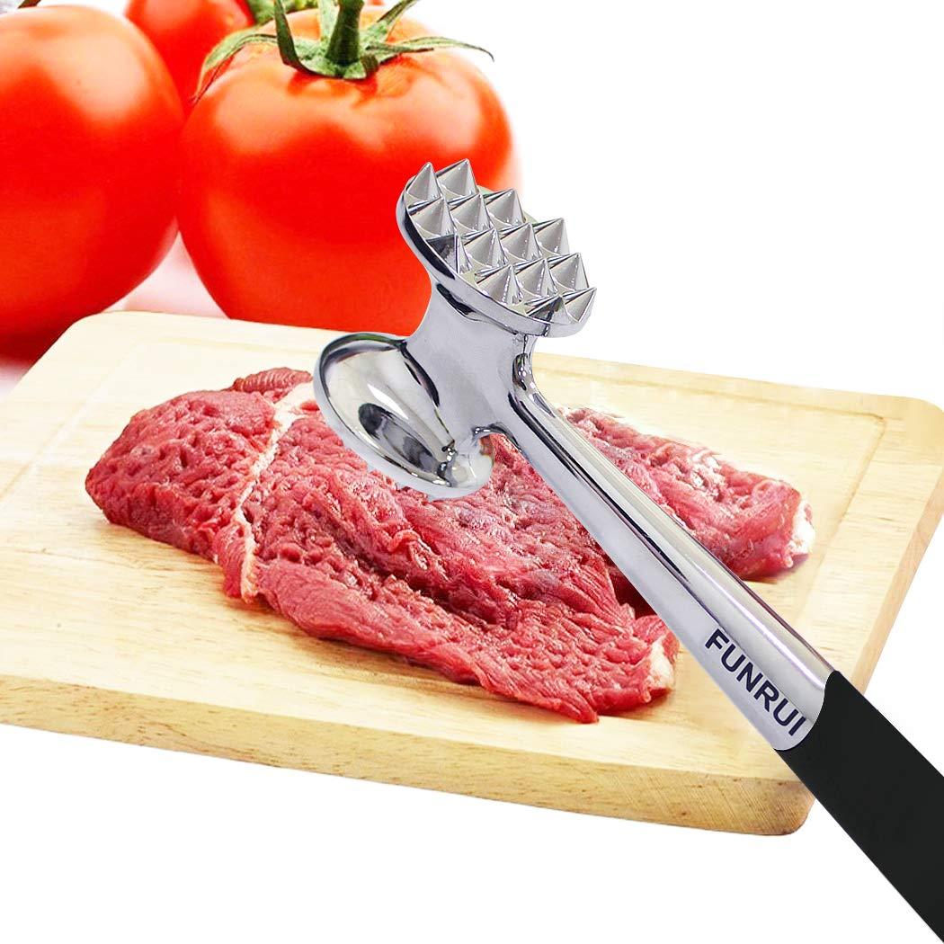 FUNRUI Heavy Duty Metal Meat Tenderizer Stainless Steel Hammer Mallet Double-Sided Design Kitchen Tool, 22.5 cm