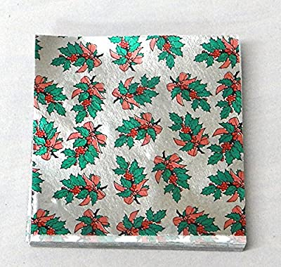 "3"" x 3"" Holly Print - Holly with Berries on Silver- Confectionery Foil Wrappers Candy Wrappers Candy Making Supplies"