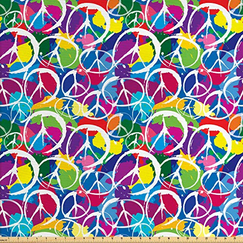 Ambesonne Retro Fabric by The Yard, Universal Peace Sign Symbol on Colorful Pop Art Style Background Pacifist Activism, Decorative Fabric for Upholstery and Home Accents, 1 Yard, Multicolor for $<!--$14.85-->