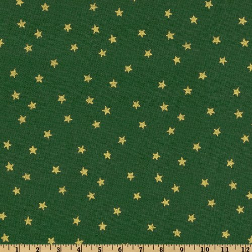 Santee Print Works Merry Christmas Stars Metallic Gold/Green Fabric by The Yard ()