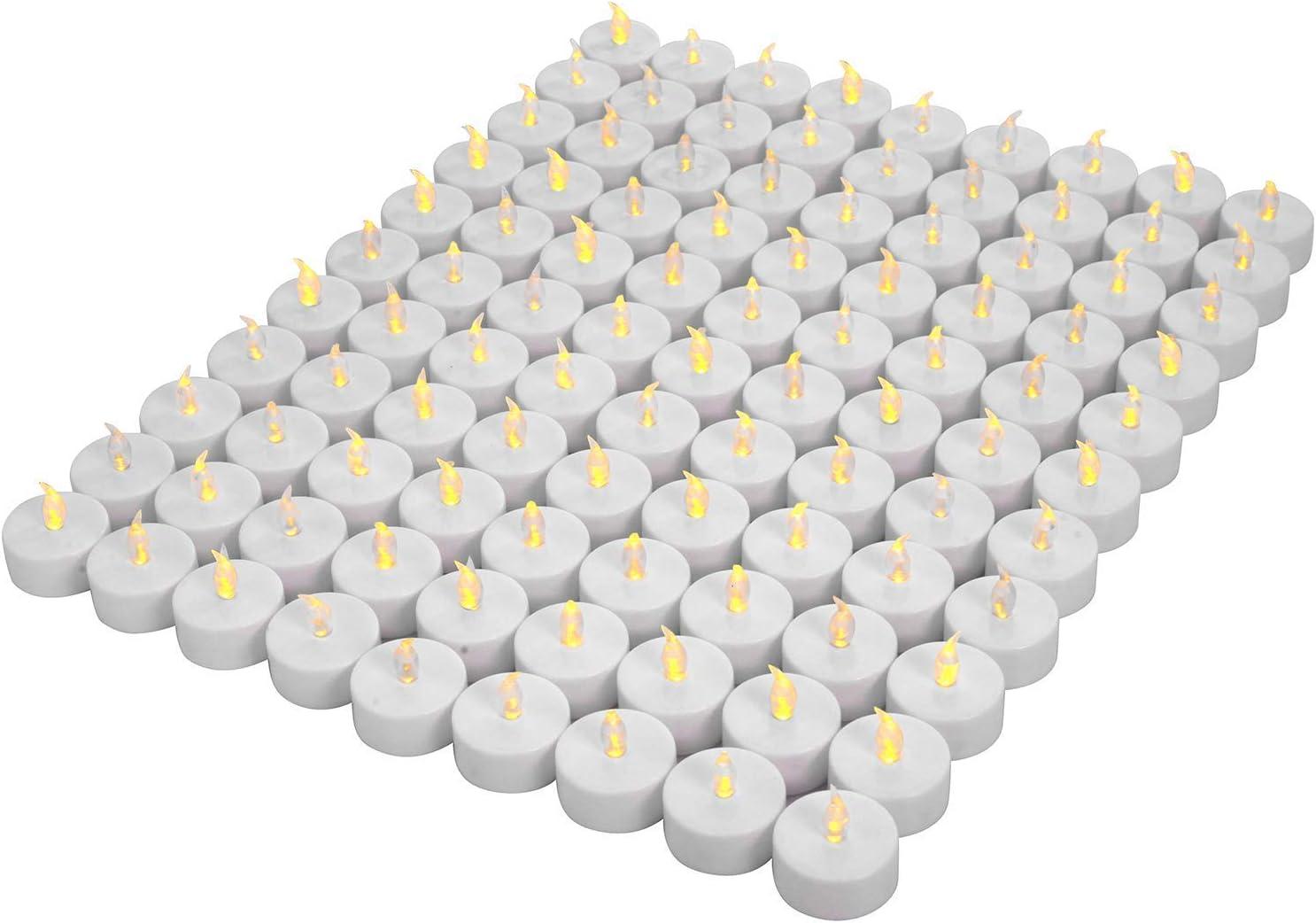 OSHINE 100unidades LED Velas Velas CR2032 pilas velas sin llama de iluminación eléctrica falso Vela para Hogar Navidad boda mesa regalo al aire libre cálido Amarillo …