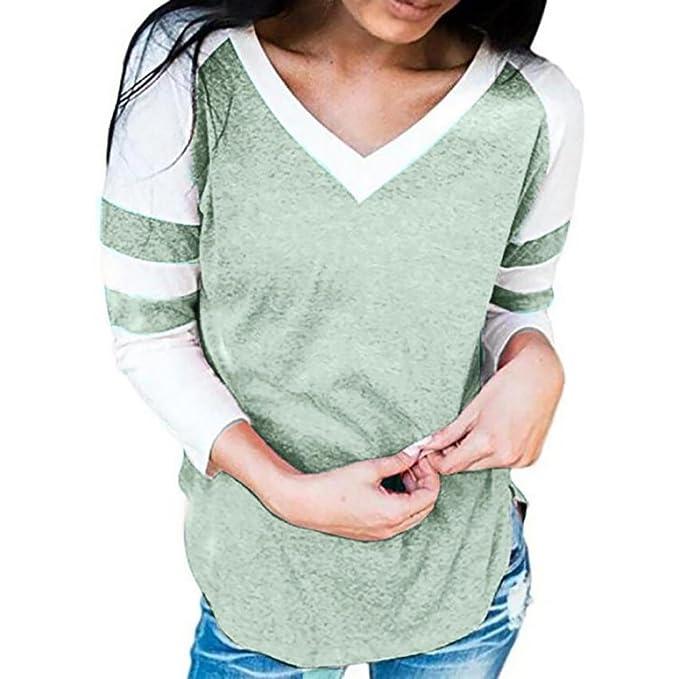 FNKDOR 2018 nuevas mujeres de manga larga empalme blusa Tops ropa moda camiseta (L,