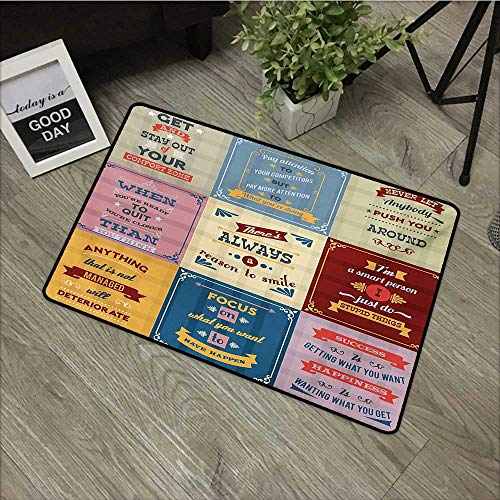 Outdoor Door mat W35 x L47 INCH Quote,Collection of Motivational Quotes Success Positive Attitude Themed Artwork Print,Pink Yellow Easy to Clean, Easy to fold,Non-Slip Door Mat Carpet
