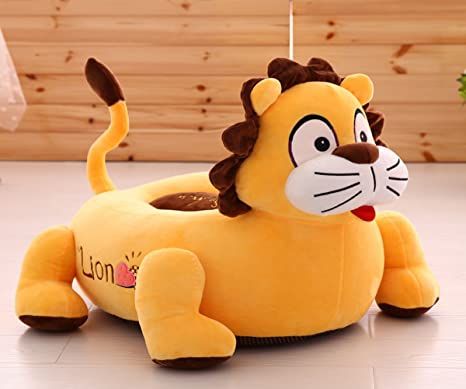 MeMoreCool Kids Cartoon sofá silla, asiento amarillo León de peluche para niños y niñas,