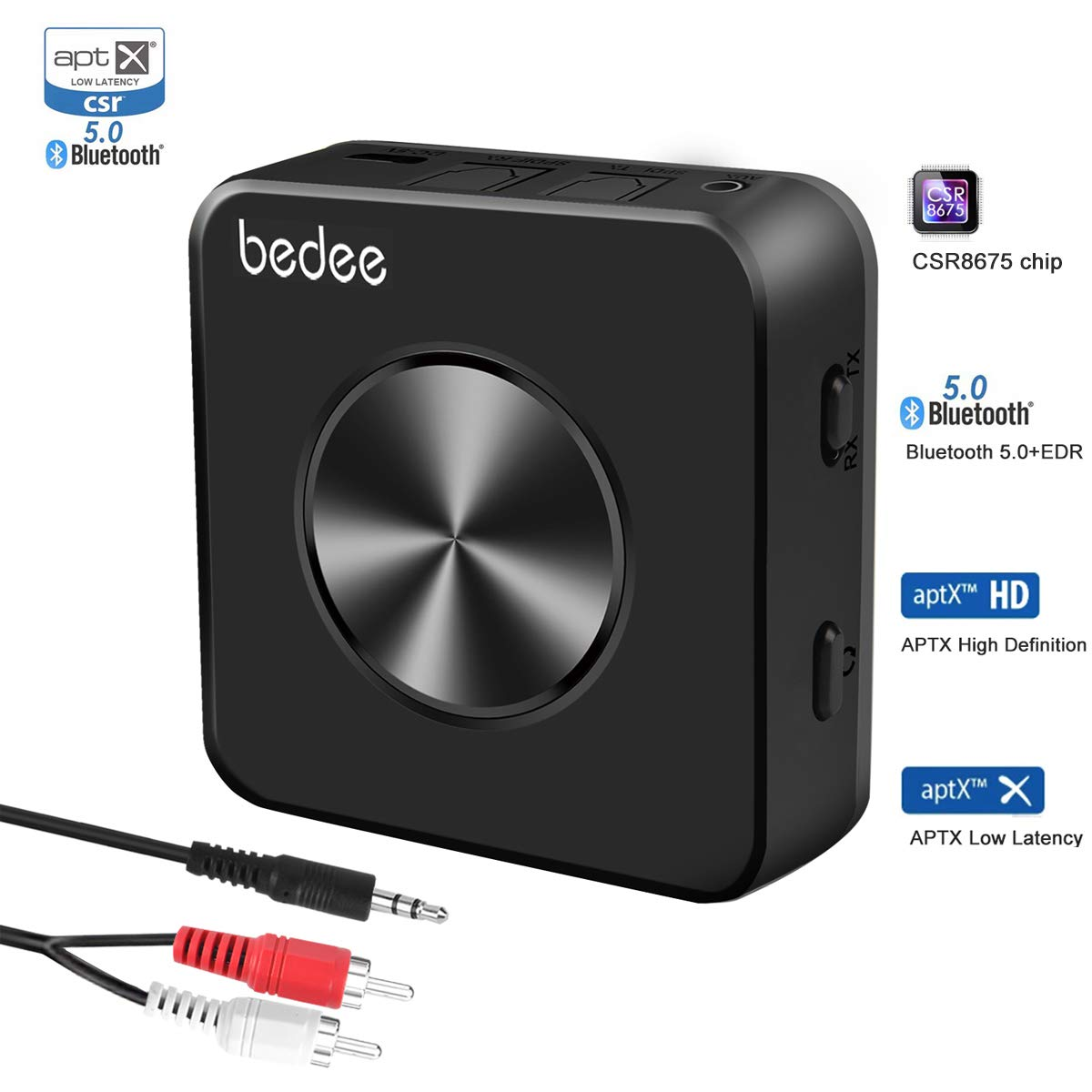 Bluetooth 5.0 Transmitter Receiver, bedee 2-in-1 Audio Adapter with Digital Optical TOSLINK and 3.5mm AUX Adapter, Dual-Link, aptx HD and aptX Low Latency for TV, PC, Car Stereo, Home Audio