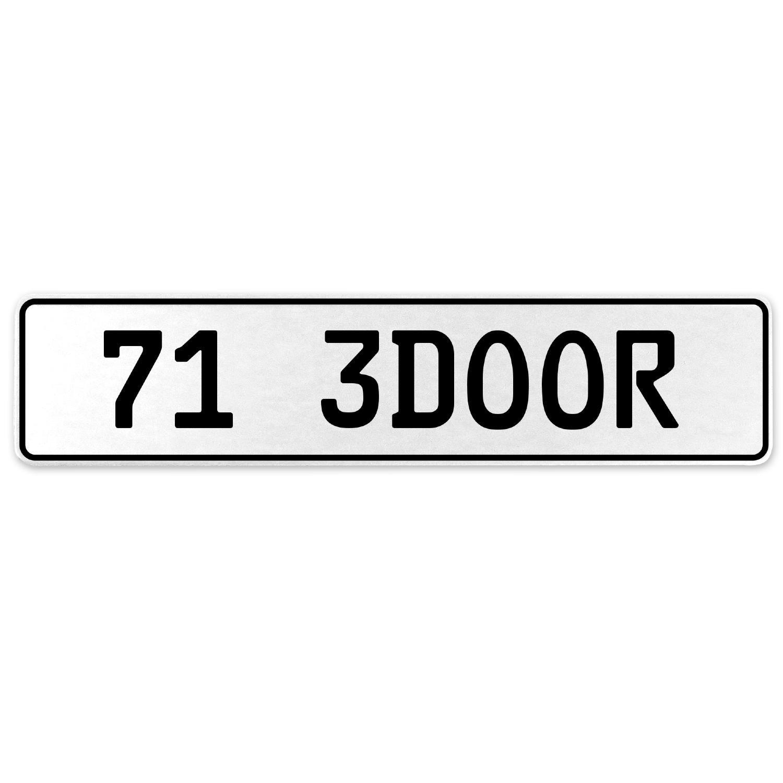 Vintage Parts 558034 71 3DOOR White Stamped Aluminum European License Plate