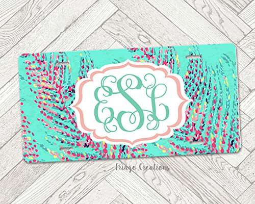 Monogram Lilly Pulitzer Inspired/License Plates/Custom Car Tags Monogrammed/Tag Customized Car Personalized Gifts - Customize your own