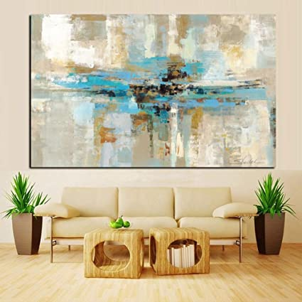 XIAOXINYUAN 100% Peint à la Peinture à l\'huile Abstraite Moderne Marron  Bleu l\'art de Mur Mur de la Chambre Photo Une Salle de séjour Décoration ...