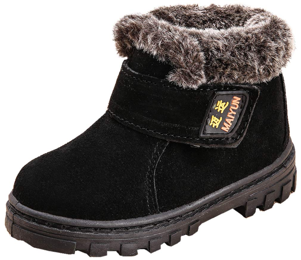 VECJUNIA Boy's Girl's Stylish Suede Nonslip Round Toe Snow Boots (Black, 8.5 M US Toddler)