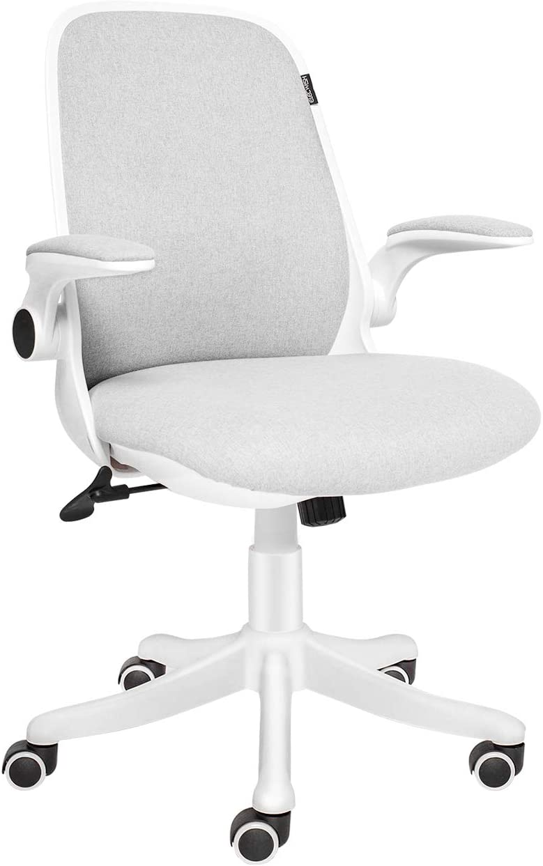 ELECWISH Office Chair Ergonomic Desk Chair Mid Mesh Back Swivel Seat Adjustable Lumbar Support Executive Chair with Flip up Armrests (Creamy White)