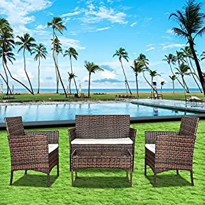 Rattan Patio Sofa Set 4 Piece Bigzzia