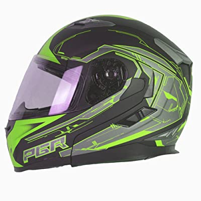 PGR F99 ESCAPE Modular Flip Up Dual Visor Full Face with Sun Shield DOT APPROVED Motorcycle Touring MAX Helmet (2XL, Matte Black Green)