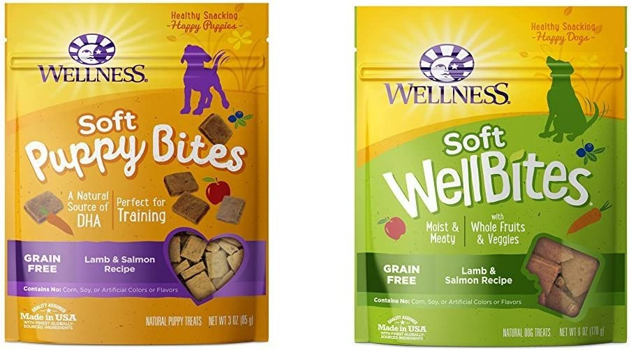 Wellness Soft Puppy Bites With Soft Wellbites Dog Treats, Lamb & Salmon Bundle