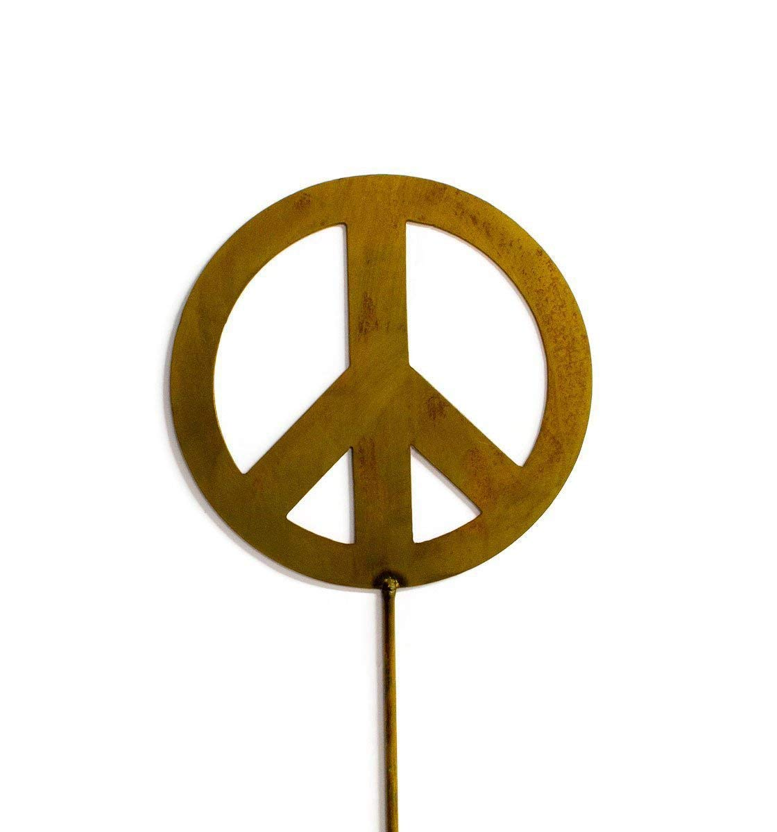Peace Sign Decorative Metal Garden Stake, Whimsical Garden Idea, Metal Garden Art, Outdoor Lawn and Patio Decor, Backyard Sculpture, Elegant Garden Design and Landscape Decoration, Outdoor Art, Lawn Ornament, Lawn Art, Modern Rustic Decor, Rusty Metal Patina, Steel and Iron, Welded Metal Stake, Home Gardening Design, Made for the Outdoors, Durable Gardening Art. Beautiful Idea to complement flower gardens, patios, flower boxes,indoor planters, outdoor planters, flower pots. American artisan made metal art for your backyard that will bring a smile for years. Makes a great garden gift idea for gardeners, nature lovers, and more! Handcrafted by Oregardenworks in the USA!
