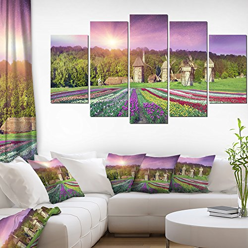 Design Art Blooming Spring Tulips Landscape Photo on Canvas Art