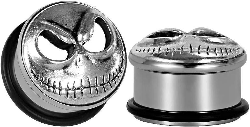 5 Pairs Smiling-Skull Acrylic Ear Plugs Tunnels Gauges Stretcher Piercings KUBOOZ