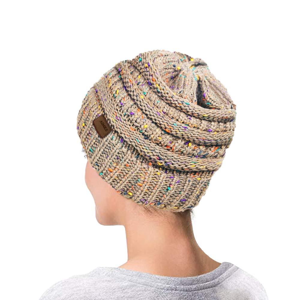 AIMKE Women\'s Warm Chunky Thick Stretchy Knit Beanie Skull Cap (Beige)