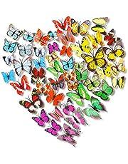Kleurrijke 3D Vlinder Muursticker 72Pcs,3D Vlinder Muurstickers Set,PVC Simulatie Vlinder,Zelfklevend DIY-Art Decor Handwerk Vlinder voor Kinderen Slaapkamer Kinderkamer Woonkamer Decoratie