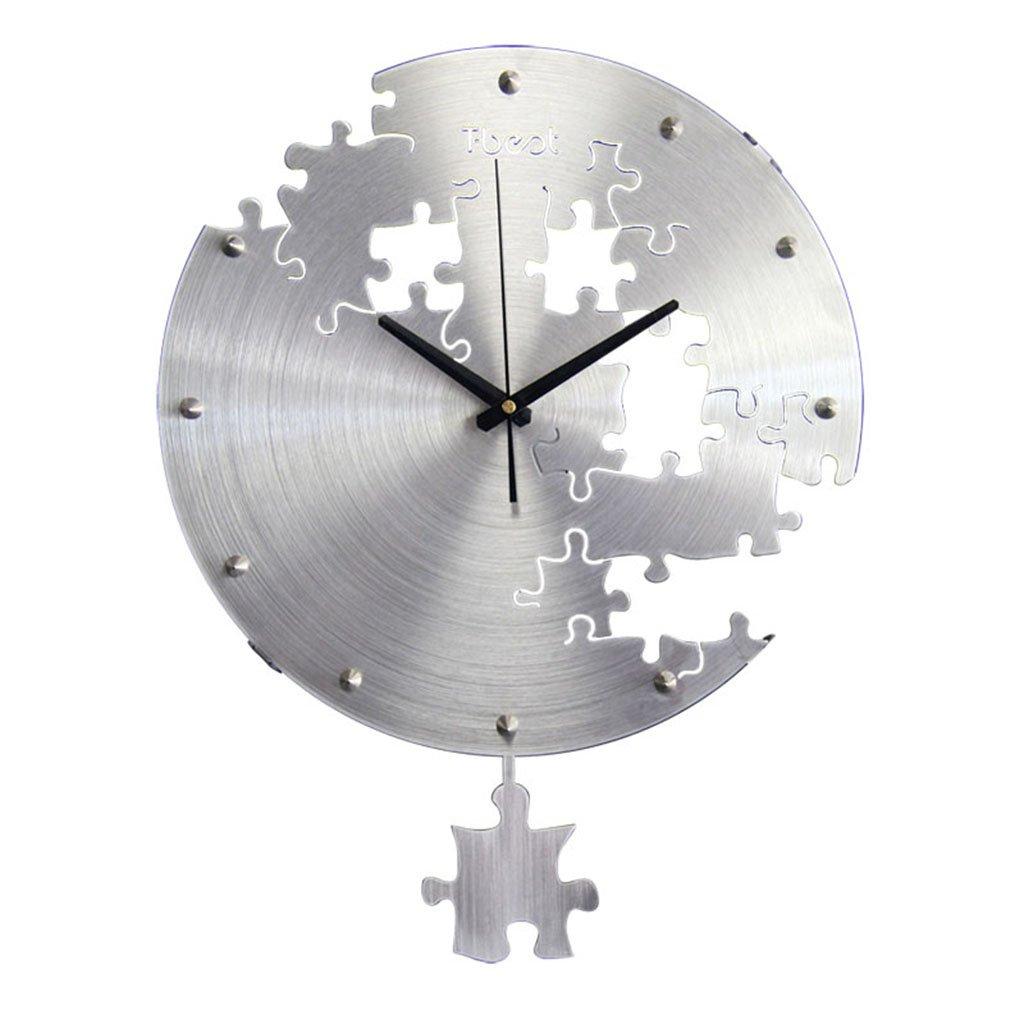 JCRNJSB® ウォールクロック、リビングルーム現代のシンプルさミュートクリエイティブウォッチパズルファッションアートオフィスクロッククォーツ時計掛けテーブル38x50cm 壁掛けサスペンション クロックウォールクロック クォーツ時計 (色 : シルバー しるば゜) B07CVSNG5T シルバー しるば゜ シルバー しるば゜
