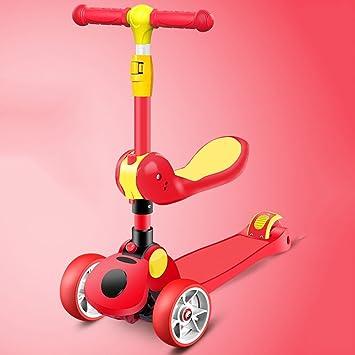 9ad5b8bd5 QFFL huabanche Scooter Puede Sentarse Scooters Tres en uno Flash de Cuatro  Ruedas Scooter Infantil Bloque