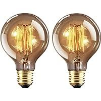 Ampoule Edison E27 Dimmable Vintage Lampe Edison Antique Filament Rétro Lumière Globe G80 Blanc Chaud 220-240V - 2 Pack