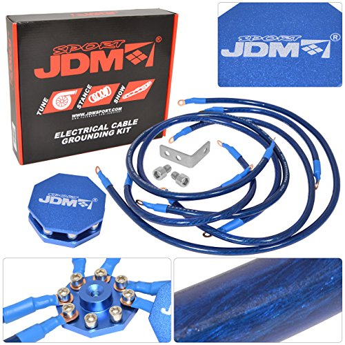 Grounding Kit Wires - JDM Sport Universal 10MM 8 Point Octagon Earth Ground Grounding Wire Cable Kit System Blue
