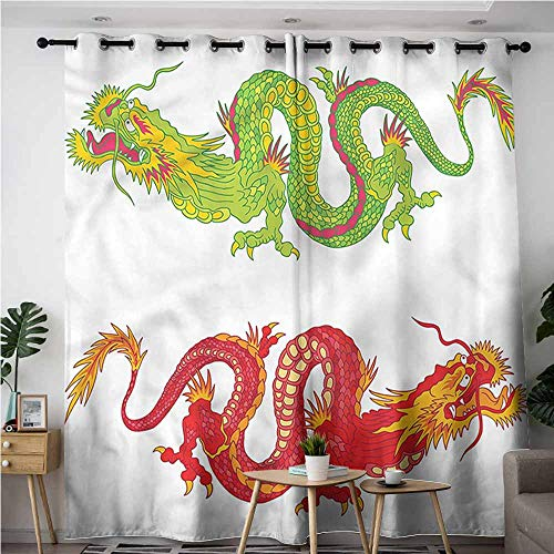 AndyTours Curtains for Bedroom,Dragon Oriental Folklore Pattern,Blackout Draperies for Bedroom,W108x72L -