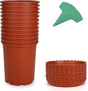 GROWNEER 12 Packs 1 Gallon Nursery Pot Garden Flower Pots, Nursery Plant Container Kit with 12 Pcs Matching Pallets and 15 Pcs Plant Labels, Brick Red