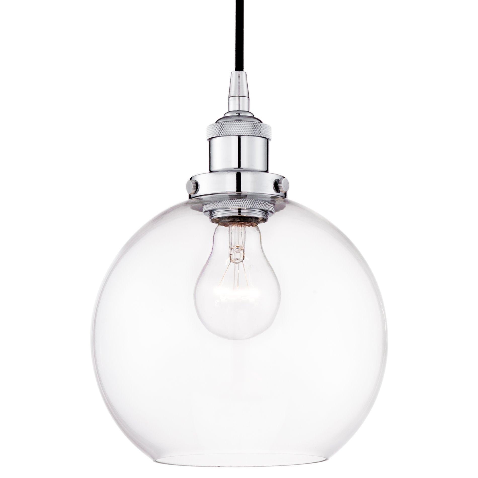 Revel Theia 8'' Transitional Pendant Light + Clear Glass Globe Shade, Chrome Finish