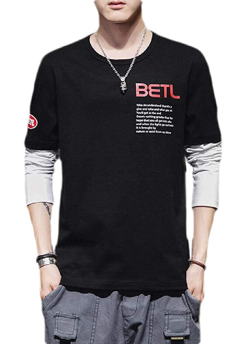 Tymhgt Mens Patchwork Contrast Color Long Sleeve T-Shirt Casual Tops