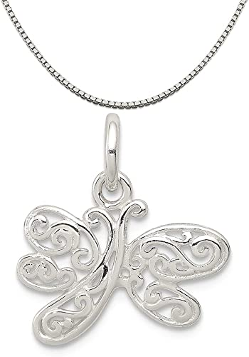 Mireval Sterling Silver Dragonfly Charm on a Sterling Silver Chain Necklace 16-20