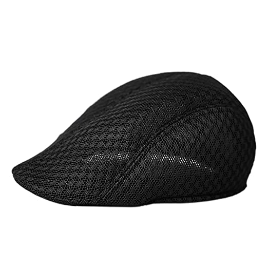 b41bab4d2c7 Opromo Duck Mesh Summer Gatsby Cap Mens Ivy Hat Golf Driving Flat Cabbie  Newsboy-Black