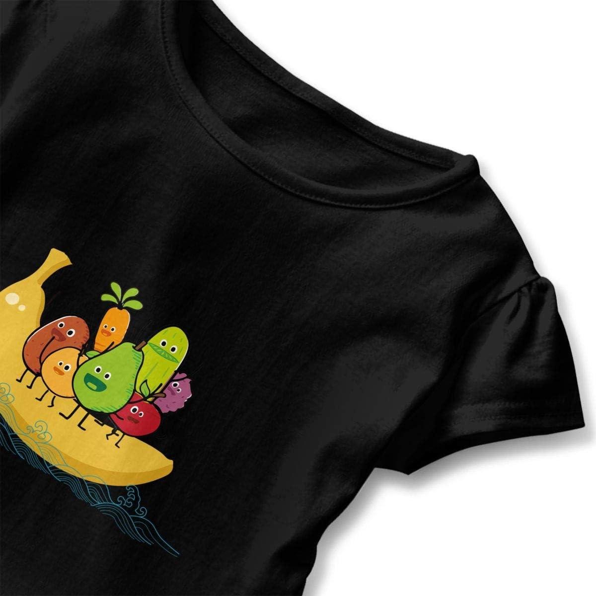 Cheng Jian Bo Cute Funny Avocado Banada Fruit Toddler Girls T Shirt Kids Cotton Short Sleeve Ruffle Tee