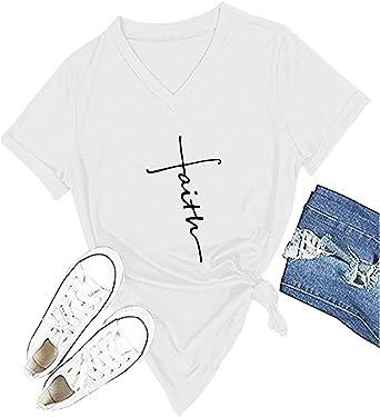 Women Cross Faith T-Shirt Printed V-Neck Casual Short Sleeve Graphic Cute Tops