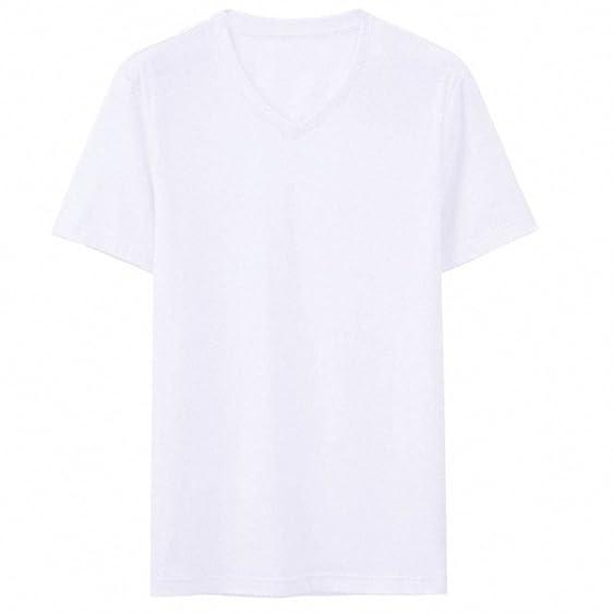 Men T-shirt V-neck Base Tee Short Sleeves T Shirt Men Clothing Camisa