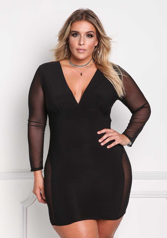 ROSIANNA Women\'s V-Neck Lace Mesh See Through Perspective Bodycon Mini  Short Plus Size Dresses (XXL) Black