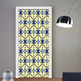 Gzhihine custom made 3d door stickers Ethnic Moroccan Ceramic Motif with Arabesque Persian Folk Effects Antique Design Violet Blue Yellow For Room Decor 30x79